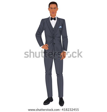 Handsome young black man with clothes, prom or wedding suit, paper doll. Vector illustration.