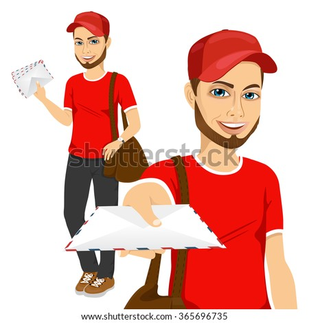 handsome young hipster post man in red uniform delivering mail with brown leather bag - stock vector