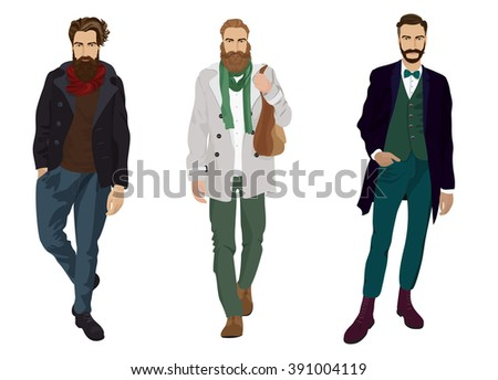 Handsome young man guys with hipster beards in fashion and casual clothes isolated.  - stock vector