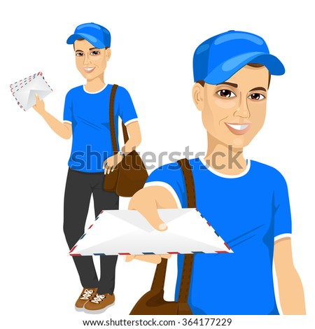 handsome young post man in blue uniform delivering mail with brown leather bag - stock vector