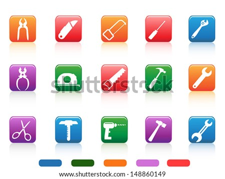 handwork tools icons button - stock vector
