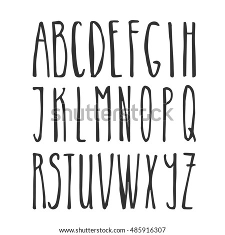 Handwriting Alphabet Vector Hand Drawn Thin Font Letters For Design