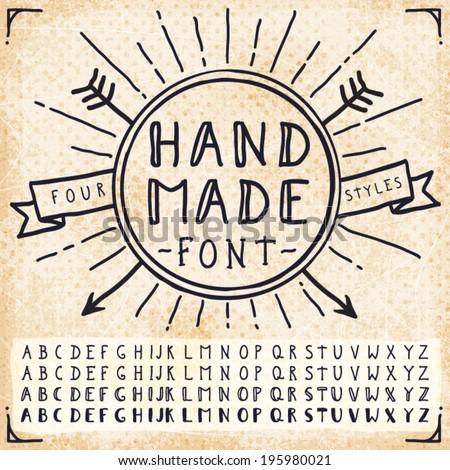 Handwriting Doodle Alphabet. Vector Hand Drawn Fonts - stock vector