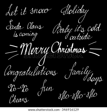 Handwriting lettering, Happy New Year and Merry Christmas, set, phrases, words, greetings card for family and friends