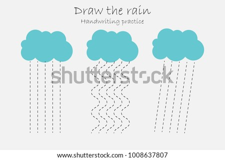 Handwriting Practice Sheet Draw Rain Kids Stock Vector 1008637807 ...
