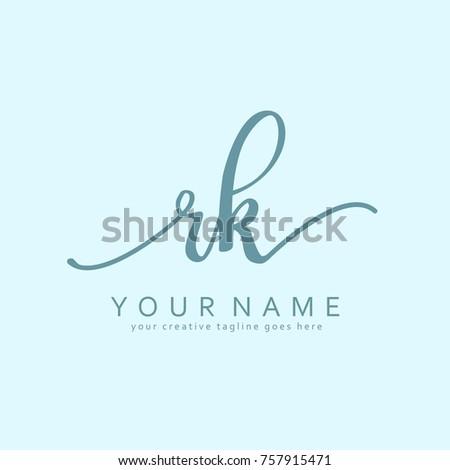 Handwriting R K Initial Logo Template Vector
