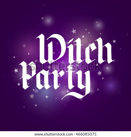 handwriting witch party. greetings card for halloween. design elements. vector illustration on color background