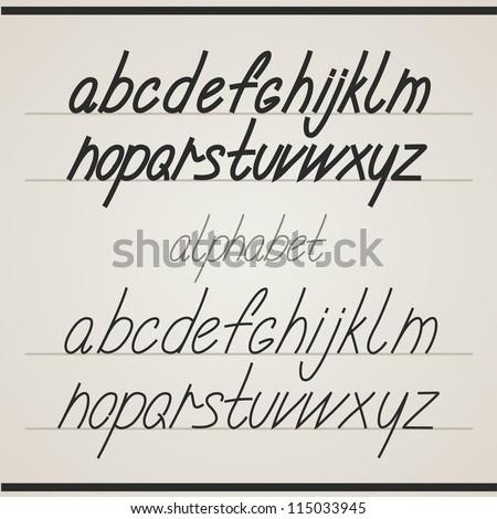 Handwritten alphabet - stock vector