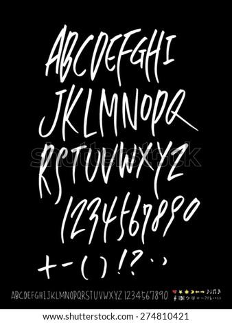 Handwritten alphabet / alphabet and numbers / vector - calligraphy - stock vector