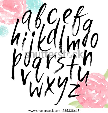 Handwritten alphabet, ink hand lettering. Hand drawn lowercase letters. Modern brush lettering. Abstract watercolor flowers. - stock vector