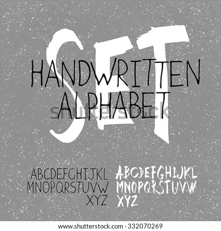 Handwritten Alphabet Set. Two in one. On textured monochrome background - stock vector