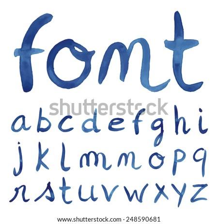 Handwritten blue font. Watercolor technique. Vector illustration. - stock vector
