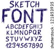 Handwritten blue sketch alphabet. Vector illustration - stock vector