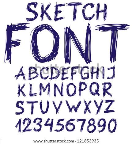 Handwritten blue sketch alphabet. Vector illustration - stock vector