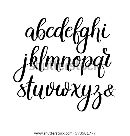 Handwritten Brush Style Letters Modern Calligraphy Stock