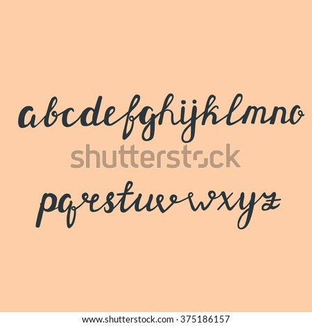 Handwritten Brush Style Modern Calligraphy Cursive Font Alphabet Cute Letters Isolated
