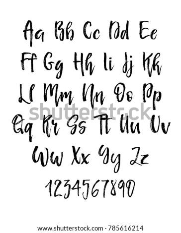 Handwritten Brush Style Modern Cursive Font Isolated On White Background Textured Handletterered Latin Letters