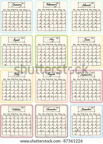 Handwritten 2012 Calendar with grunge Elements. Full 12 month set. Vector Version. - stock vector