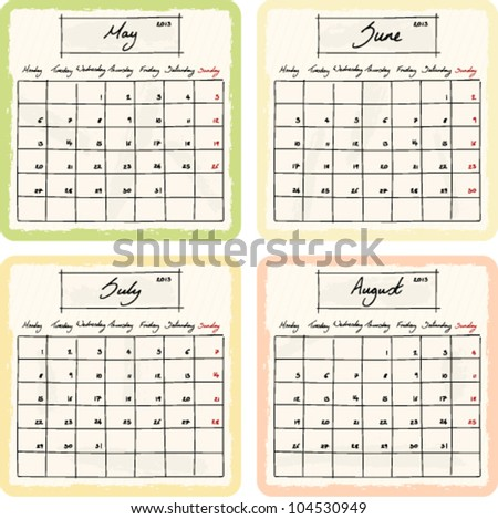 Handwritten 2013 Calendar with grunge Elements. Months May, June, July and August. Vector Version. - stock vector