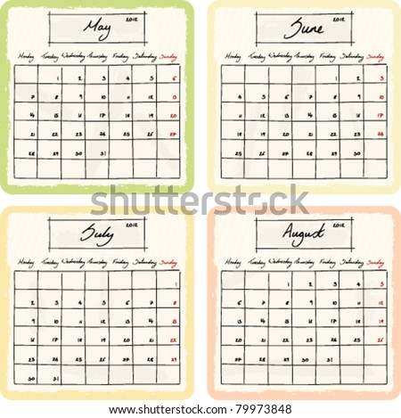 Handwritten 2012 Calendar with grunge Elements. Months May, June, July and August. Vector Version. - stock vector