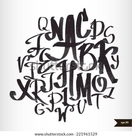 Handwritten calligraphic black watercolor alphabet - stock vector