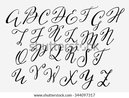 Handwritten Calligraphy Flourish Font Capital Letters Modern Alphabet Isolated Letter Elements
