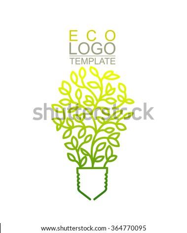 Handwritten Conceptual Green Eco Logo Template. Lightbulb  - stock vector