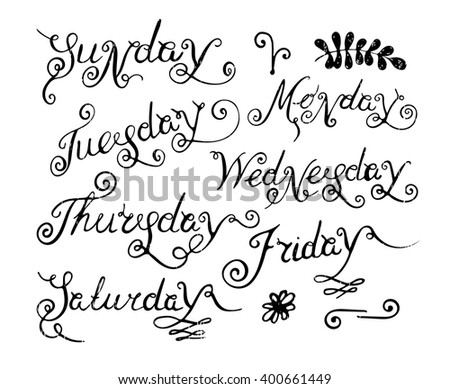 Handwritten days of the week: Monday, Tuesday, Wednesday, Thursday, Friday, Saturday, Sunday. Handdrawn calligraphy lettering for diary, banner, calendar, planner, poster. Vector illustration. - stock vector