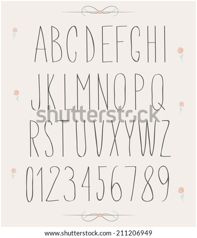 handwritten font, hand drawn sketch alphabet and numbers - stock vector