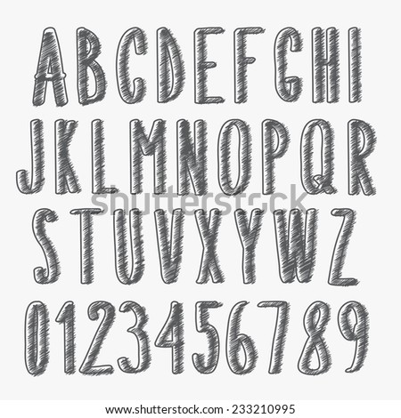 handwritten font, scribbled alphabet and numbers - stock vector