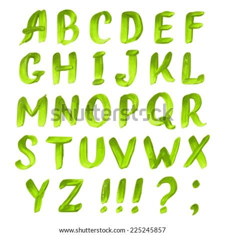 Handwritten Green Watercolor Alphabet Letters Symbols Stock Photo