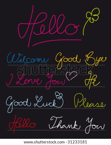 Handwritten greetings. Full editable curves. - stock vector