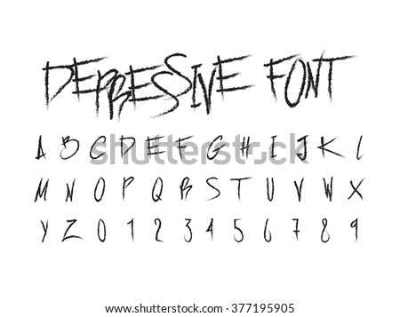 Handwritten grunge scratch type font, letters and numbers vintage typography vector. Isolated on white background
