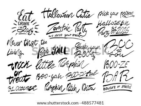 Handwritten Halloween Phrases Rough Edges Isolated Stock Vector ...