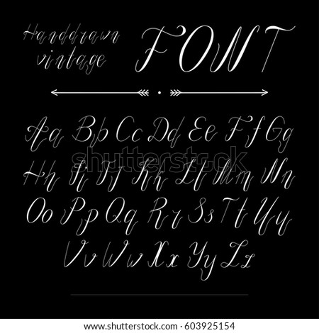 Handwritten Lettering Font Alphabet Made In Vector Typeface Modern Style Vintage