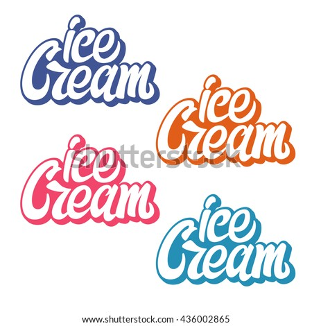 Handwritten lettering Ice Cream. Vector element  for labels, logos, badges, stickers or icons. Ice cream typographic for restaurant, bar, cafe, menu, ice cream or sweet shop. - stock vector