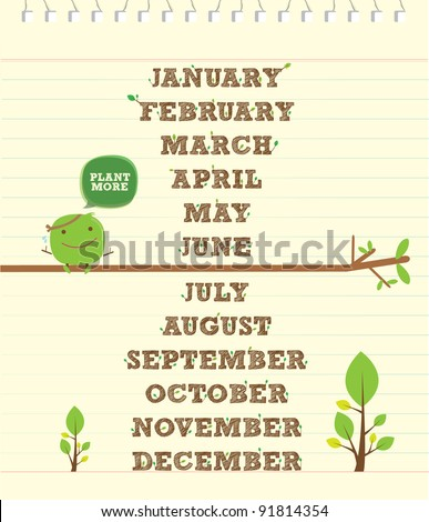 handwritten monthly alphabet for calendar and green environment - stock vector