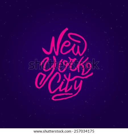 Handwritten phrase New York City. Hand drawn tee graphic. Typographic print poster. T shirt hand lettered calligraphic design. Lettering design. Vector illustration. - stock vector