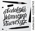 Handwritten Script font. Hand Lettering and Custom Typography art for Designs: Logo, Cards, etc. Vector Brush typeface. - stock vector