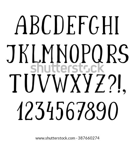 Handwritten Simple Font Hand Drawn Sketch Alphabet Isolated Capital Letters And Numbers