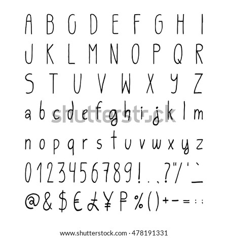 Handwritten Simple Vector Alphabet Set Handdrawn Thin Characters Uppercase Lowercase Numerals And Punctuations