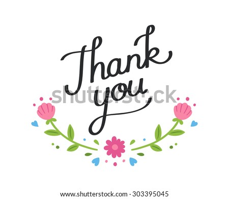 Handwritten thank you note with simple romantic floral Thank you in calligraphy writing