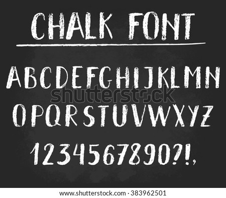 Handwritten vector chalked alphabet. Imitation texture of chalk. Modern hand drawn alphabet. Isolated letters.  - stock vector