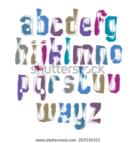 Handwritten vector lowercase letters isolated on white background, painted modern typeset.