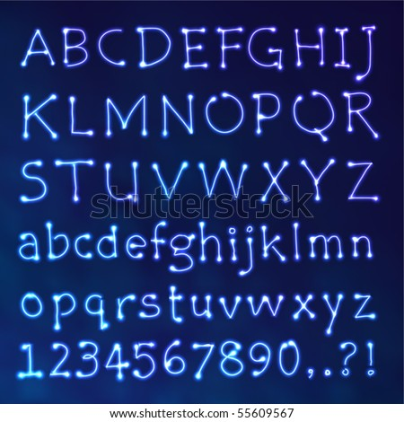 Handwritten Vector Neon Light Alphabets - stock vector