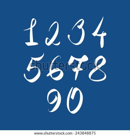 Handwritten vector numbers, modern numbers set. - stock vector