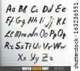 Handwritten watercolor alphabet. Vector Illustration.  - stock vector