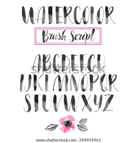 Handwritten watercolor calligraphic font. Modern brush lettering. Hand drawn alphabet. Abstract hand painted flowers. - stock vector