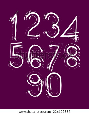 Handwritten white vector numbers on dark red background, stylish numbers set drawn with ink brush. - stock vector