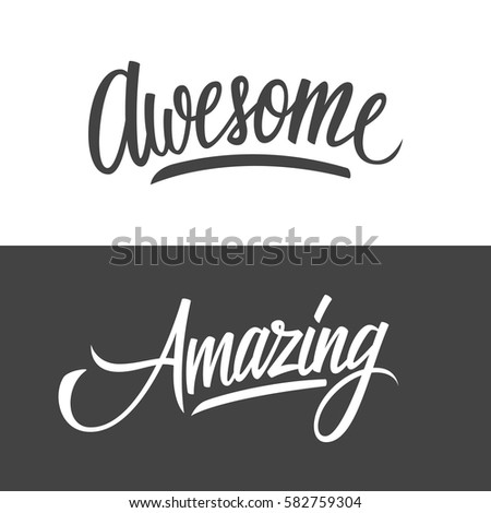 The Word Amazing: Handwritten Words Amazing Awesome Hand Drawn Stock Vector